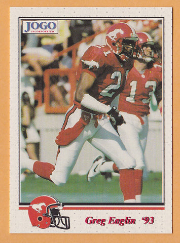 Greg Eaglin CFL card 1993 Jogo #186 Calgary Stampeders  Arkansas Razorbacks