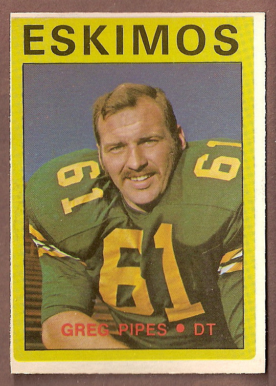 Greg Pipes CFL card 1972 O-Pee-Chee #92 Edmonton Eskimos  Baylor Bears