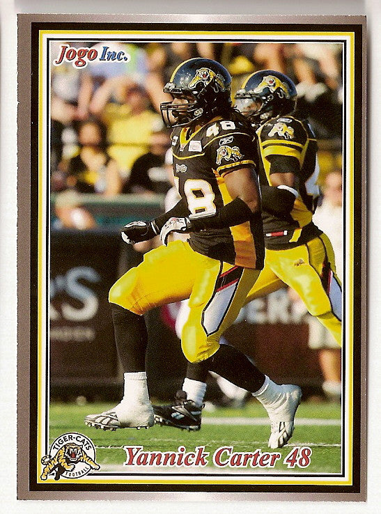 Yannick Carter CFL card 2011 Jogo #94 Hamilton Tiger-Cats  Wilfrid Laurier Golden Hawks