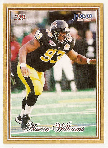 Aaron Williams CFL card 2001 Jogo #229 Hamilton Tiger-Cats  Indiana Hoosiers