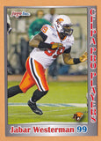 Jabar Westerman CFL card 2012 Jogo Pro Player #5 BC Lions  Eastern Michigan Eagles