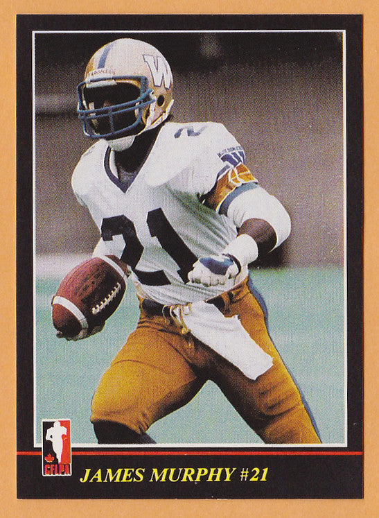 James Murphy CFL card 1986 Jogo #138 Winnipeg Blue Bombers  Utah State Aggies  Hall of Fame