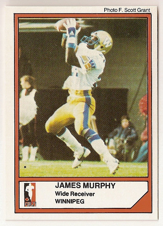 James Murphy CFL card 1984 Jogo #81 Winnipeg Blue Bombers  Utah State Aggies  Hall of Fame