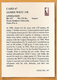 James West CFL card 1987 Jogo #47 Winnipeg Blue Bombers  Texas Southern Tigers  Hall of Fame