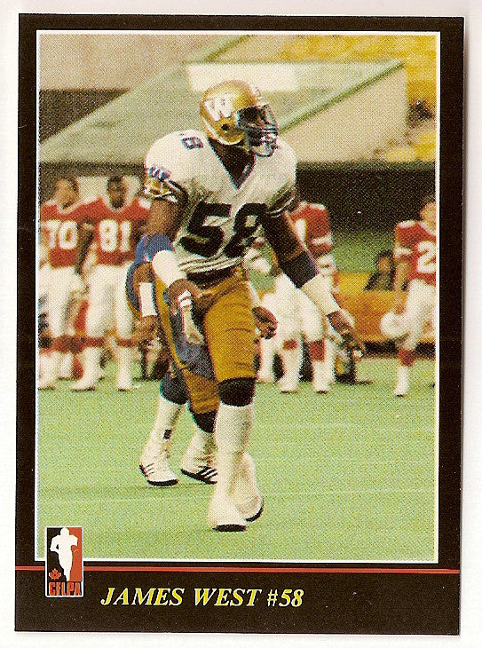 James West CFL card 1986 Jogo #65 Winnipeg Blue Bombers  Texas Southern Tigers  Hall of Fame