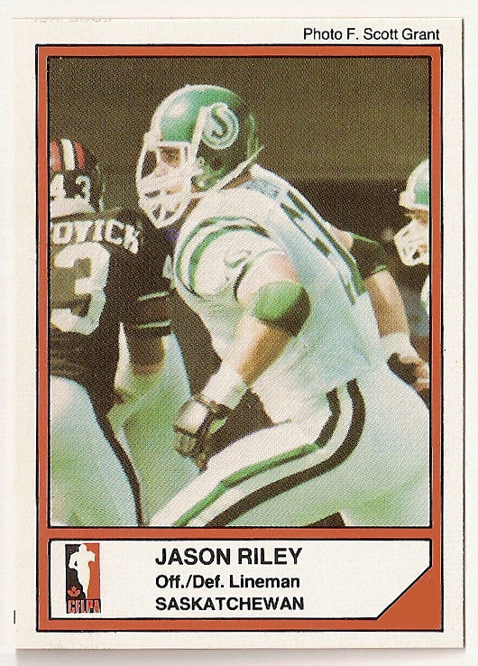 Jason Riley CFL card 1984 Jogo #98 Saskatchewan Roughriders  UBC Thunderbirds