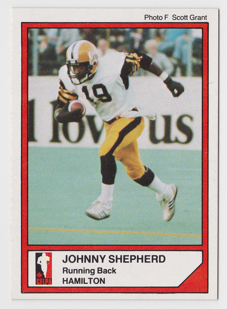 Johnny Shepherd CFL card 1984 Jogo #129 Hamilton Tiger-Cats  Livingston West Alabama Tigers