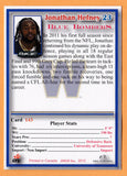 Jonathan Hefney CFL card 2012 Jogo Pro Player #143 Winnipeg Blue Bombers  Tennessee Volunteers