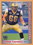Jordan Taormina CFL card 2012 Jogo Pro Player #136 Winnipeg Blue Bombers  Oklahoma State Cowboys  Orange Coast College Pirates