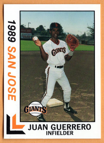 Juan Guerrero 1989 San Jose Giants Minor League Baseball  San Jose de los Llanos, Dominican Republic  |  Houston Astros