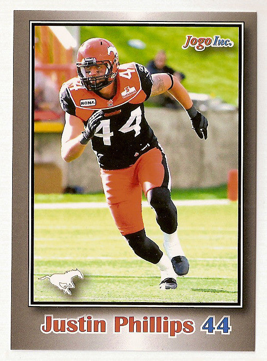 Justin Phillips CFL card 2012 Jogo #190 Calgary Stampeders  Wilfrid Laurier Golden Hawks