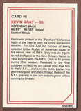 Kevin Gray CFL card 1985 Jogo #6 Ottawa Rough Riders  Eastern Illinois Panthers