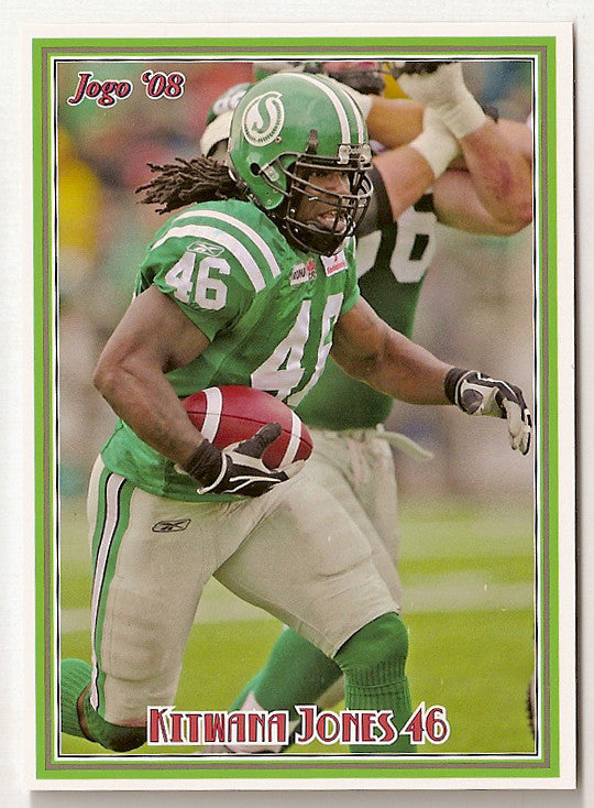 Kitwana Jones CFL card 2008 Jogo #18 Saskatchewan Roughriders  Hampton Pirates  North Carolina UNC Tar Heels