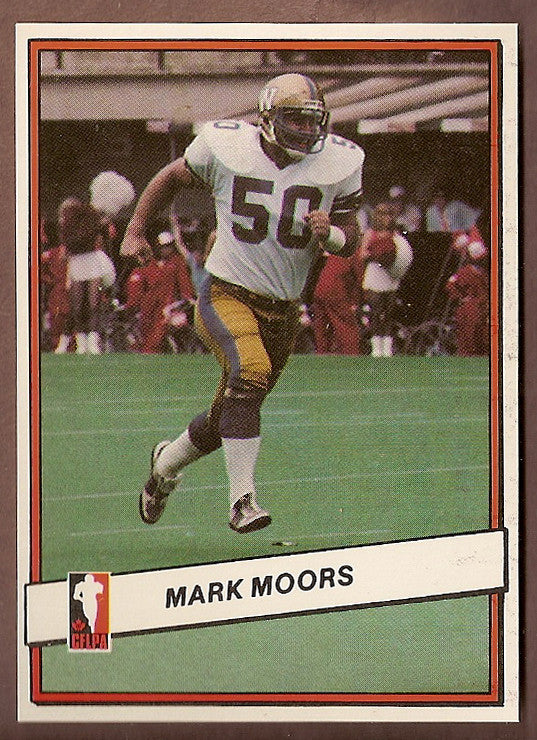 Mark Moors CFL card 1985 Jogo #103 Winnipeg Blue Bombers  Acadia Axemen