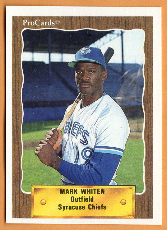 Mark Whiten 1990 Syracuse Chiefs Minor League Baseball  Pensacola State College Pirates  Pensacola Tigers  |  Toronto Blue Jays Cleveland Indians St. Louis Cardinals Boston Red Sox Seattle Mariners Philadelphia Phillies New York Yankees Atlanta Braves