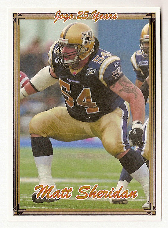 Matt Sheridan CFL card 2005 Jogo #59 Winnipeg Blue Bombers  Manitoba Bisons