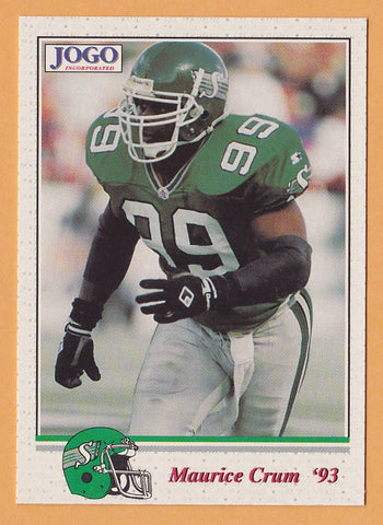 Maurice Crum CFL card 1993 Jogo #134 Saskatchewan Roughriders  Miami Hurricanes