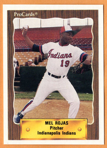 Mel Rojas 1990 Indianapolis Indians Minor League Baseball  Haina, Dominican Republic  |  Montreal Expos Chicago Cubs New York Mets Los Angeles Dodgers Detroit Tigers