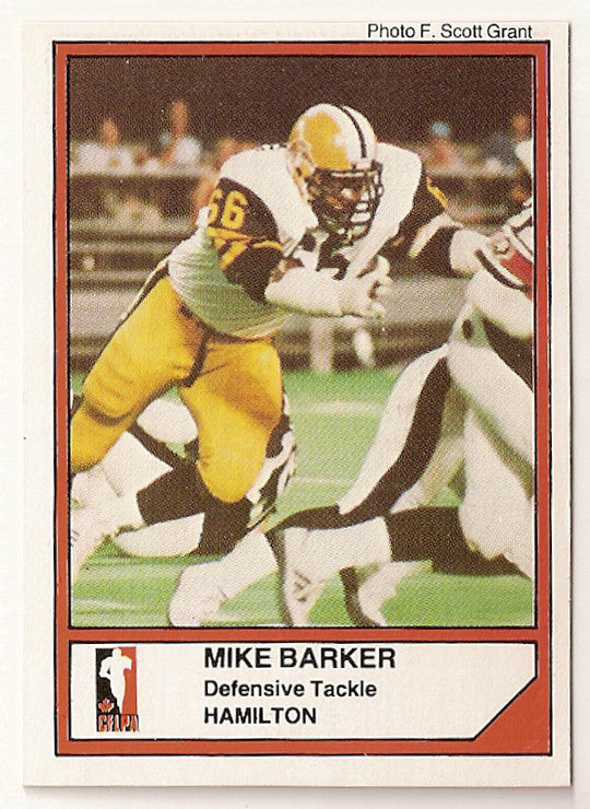 Mike Barker CFL card 1984 Jogo #51 Hamilton Tiger-Cats  Grambling State Tigers