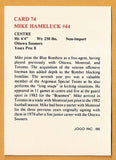 Mike Hameluck CFL card 1986 Jogo #74 Winnipeg Blue Bombers  Ottawa Sooners