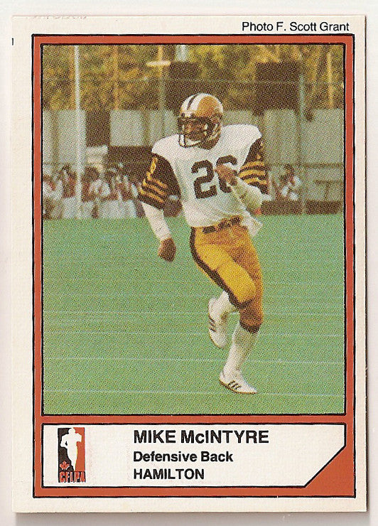 Mike McIntyre CFL card 1984 Jogo #47 Hamilton Tiger-Cats  New Brunswick Red Bombers
