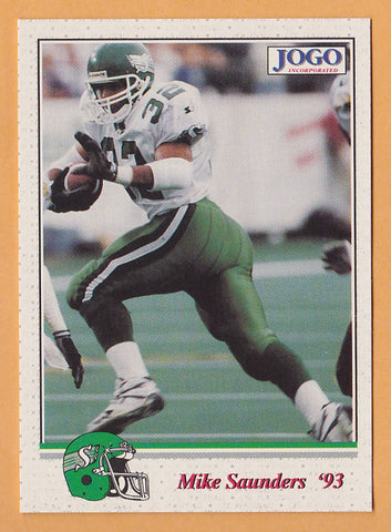 Mike Saunders CFL card 1993 Jogo #165 Saskatchewan Roughriders  Iowa Hawkeyes