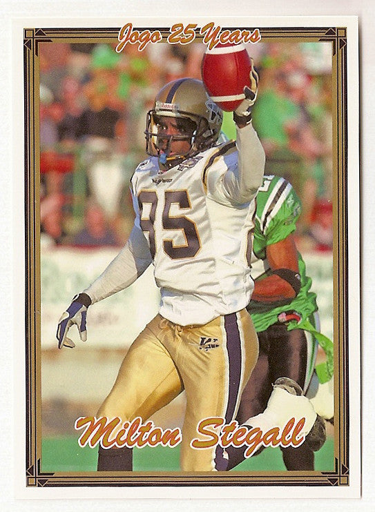 Milt Stegall CFL card 2005 Jogo #110 Winnipeg Blue Bombers  Miami RedHawks  Hall of Fame