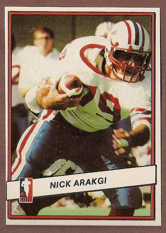 Nick Arakgi CFL card 1985 Jogo #61 Montreal Concordes  Bishop's Gaiters