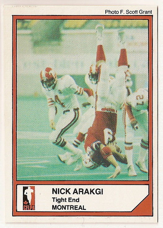 Nick Arakgi CFL card 1984 Jogo #110 Montreal Concordes  Bishop's Gaiters