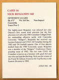 Nick Benjamin CFL card 1986 Jogo #16 Ottawa Rough Riders  Concordia Stingers
