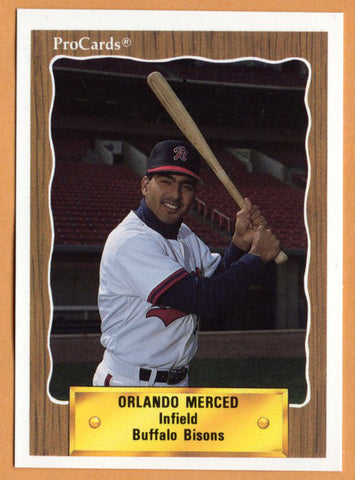 Orlando Merced 1990 Buffalo Bisons Minor League Baseball  San Juan, Puerto Rico  |  Pittsburgh Pirates Toronto Blue Jays Houston Astros Montreal Expos Chicago Cubs Boston Red Sox Minnesota Twins