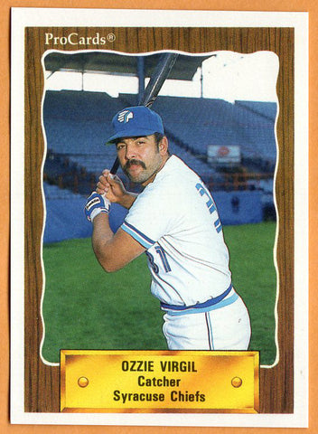 Ozzie Virgil 1990 Syracuse Chiefs Minor League Baseball  Mayaguez, Puerto Rico  Moon Valley Rockets  |  Philadelphia Phillies Atlanta Braves Toronto Blue Jays