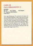 Paul Osbaldiston CFL card 1986 Jogo #130 Hamilton Tiger-Cats  West Montana Bulldogs  Richmond Raiders