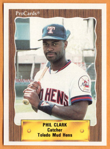 Phil Clark 1990 Toledo Mud Hens Minor League Baseball  Crockett Bulldogs  |  Detroit Tigers San Diego Padres Boston Red Sox