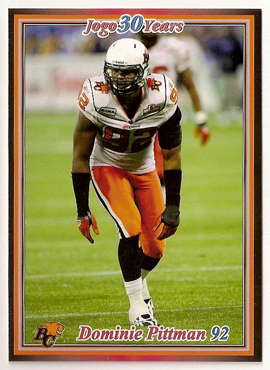 Dominie Pittman CFL card 2010 Jogo #125 BC Lions  North Alabama Lions