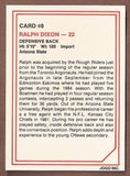 Ralph Dixon CFL card 1985 Jogo #8 Ottawa Rough Riders  Arizona State Sun Devils