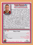 Rob Maver CFL card 2012 Jogo #184 Calgary Stampeders  Guelph Gryphons