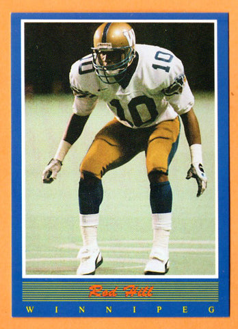 Rod Hill CFL card 1988 Jogo #105 Winnipeg Blue Bombers  Kentucky State Thorobreds  Hall of Fame