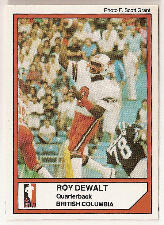 Roy Dewalt CFL card 1984 Jogo #68 BC Lions  Texas Arlington UTA Mavericks