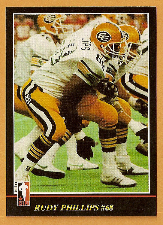Rudy Phillips CFL card 1986 Jogo #111 Edmonton Eskimos  North Texas Mean Green  Hall of Fame