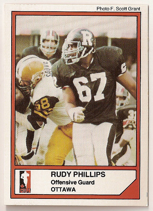 Rudy Phillips CFL card 1984 Jogo #28 Ottawa Rough Riders  North Texas Mean Green  Hall of Fame