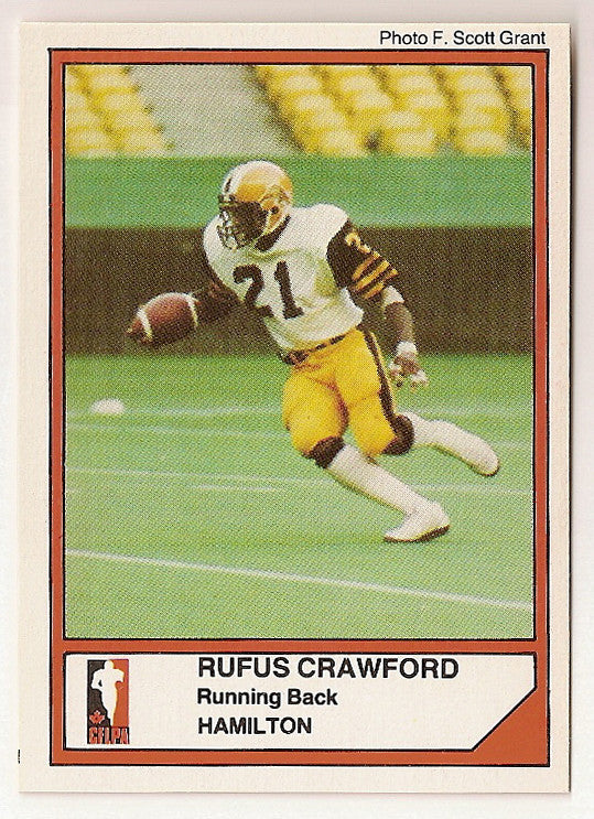 Rufus Crawford CFL card 1984 Jogo #42 Hamilton Tiger-Cats  Virginia State Trojans