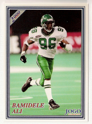Bamidele Ali CFL card 2000 Jogo #211 Saskatchewan Roughriders  Kentucky Wildcats