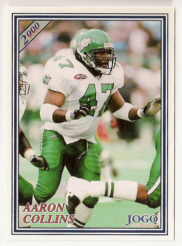 Aaron Collins CFL card 2000 Jogo #203 Saskatchewan Roughriders  Penn State Nittany Lions