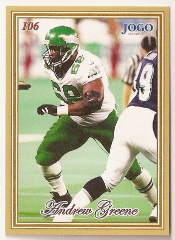 Andrew Greene CFL card 2001 Jogo #106 Saskatchewan Roughriders  Indiana Hoosiers