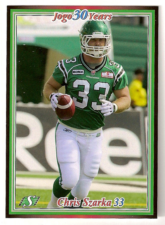 Chris Szarka CFL card 2010 Jogo #9 Saskatchewan Roughriders  Eastern Ilinois Panthers