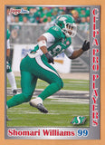Shomari Williams CFL card 2012 Jogo Pro Player #29 Saskatchewan Roughriders  Queen's Golden Gaels