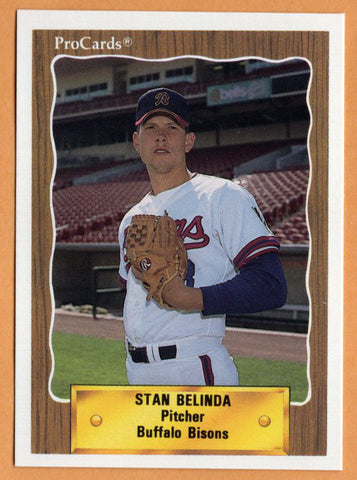 Stan Belinda 1990 Buffalo Bisons Minor League Baseball  Allegany College of Maryland Trojans  State College Area Little Lions  |  Pittsburgh Pirates Kansas City Royals Cincinnati Reds Boston Red Sox Colorado Rockies Atlanta Braves