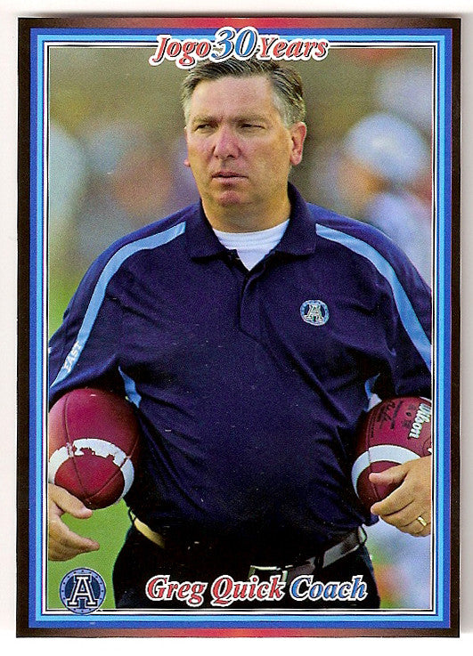Greg Quick CFL card 2010 Jogo #62 Toronto Argonauts  Baldwin Wallace Yellow Jackets