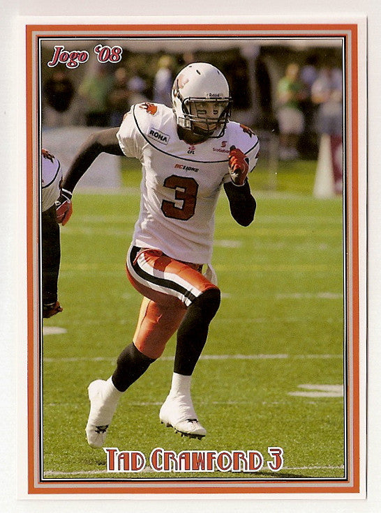 Tad Crawford CFL card 2008 Jogo #166 BC Lions  Columbia University Lions